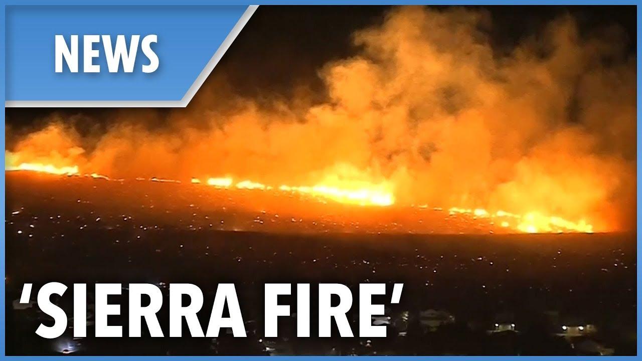 """New fire dubbed """"Sierra Fire"""" develops overnight in Fontana"""