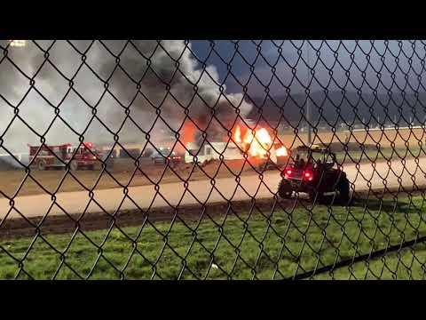 Bus jumping through burning camper at proctor speedway. 2019 mid summer night of mayhem