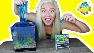 REAL SLIME AQUARIUM HOW TO MAKE A SLIME FISH TANK! So Satisfying! | NICOLE SKYES