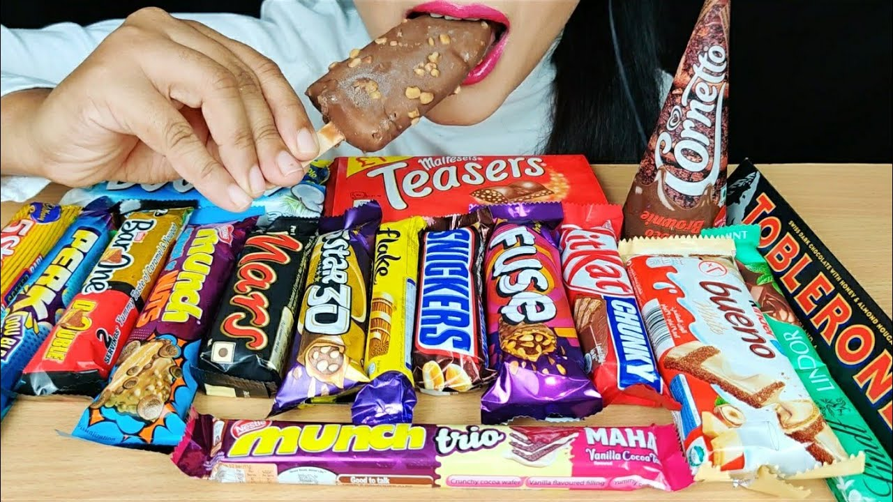 ASMR:CHOCOLAT MUNCH,KWALITY WALLS ICECREAM,SNICKERS,FLAKE,MALTESERS TEASERS,CHOCOLATE ICECREAM