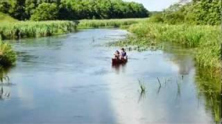 ラムサール条約の登録湿地のウトナイ湖まで続く美々川でカナディアンカ...