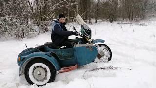 Мотоцикл днепр с приводом на коляску покатушки