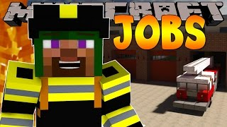 Minecraft Jobs : LITTLE LIZARD BECOMES A FIREMAN! (Custom Roleplay)