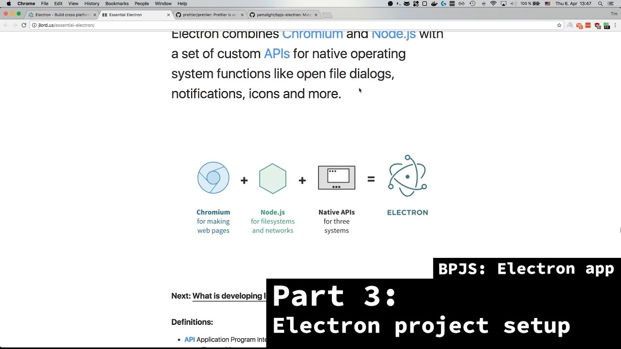BPJS: Electron app - Part 3 - Electron basic project & prettier