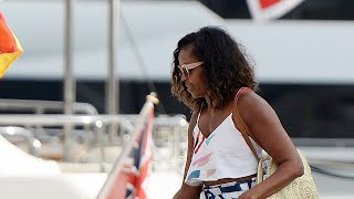 Michelle Obama Rocks a Leggy Look and Bares Her Midriff During…