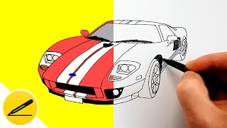 How to Draw a Car - Ford GT - step by step ★