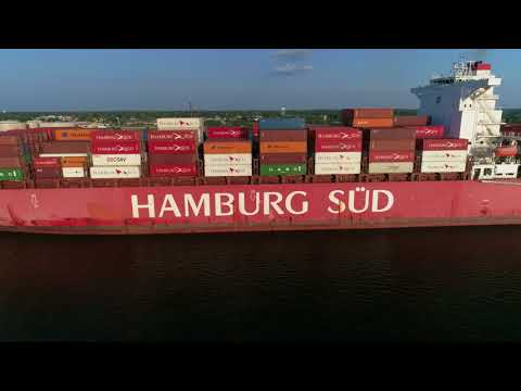 Aerial Drone Video of Cargo Ship Cap Andreas Delaware River Philadelphia