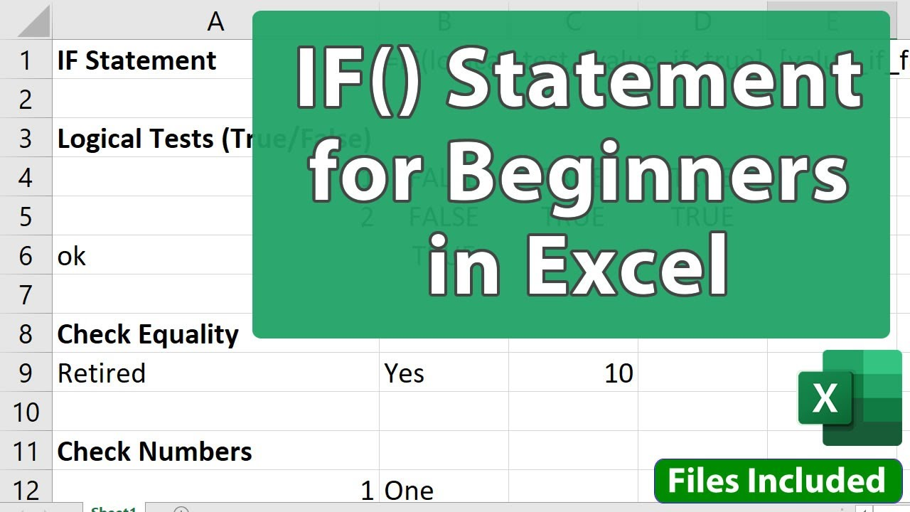 IF() Statement in Excel for Beginners
