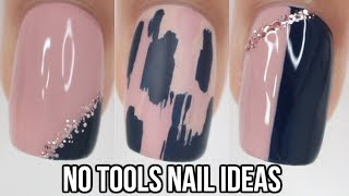 No Tool Nail Art! 5 Easy Nail ideas!