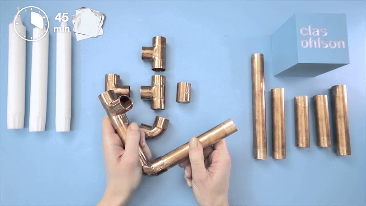 Selbstgemachter kerzenständer aus kupferrohren youtube