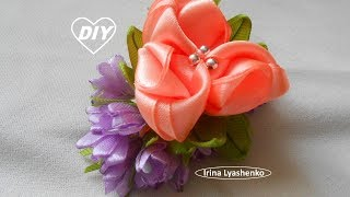 Цветок канзаши на зажим или брошь МК/DIY Flower, clip, brooch/РАР Flor, clip, broche#222