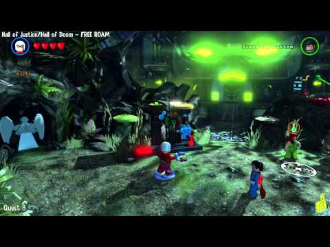 Lego Batman 3 Beyond Gotham: Hall of Justice/Hall of Doom FREE ROAM (All Collectibles) - HTG