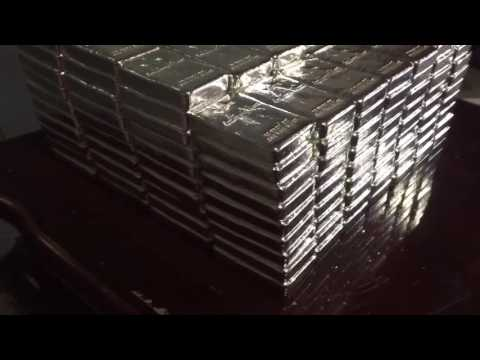 3,000 oz hand poured 999 fine silver bullion bars by Atlantis Mint