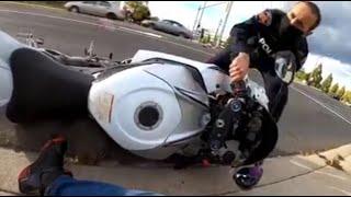 Cop KNOCKS Biker Off His Motorcycle! - Bikes VS Cops #65