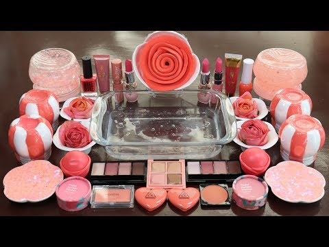 """Mixing """"Coral Flower""""Makeup,More Stuff & CoralSlime Into slime!Most Satisfying Slime Video. thumbnail"""