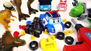 Dinosaurs broke Robocar Poli and Tayo! Rusty Rivets! Please repair my friends! - DuDuPopTOY