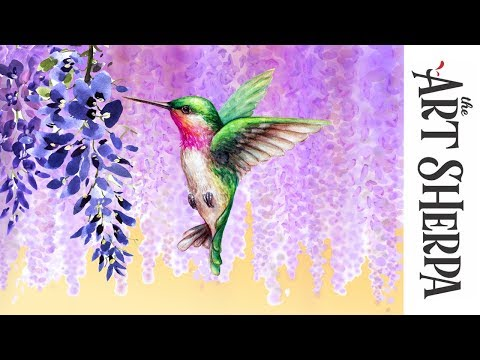 How to paint with Acrylic on Canvas Wisteria Hummingbird Dre