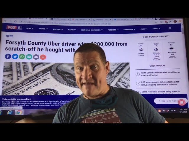 Keith Wishon, Uber Driver wins $200,000 after buying scratch tickets with a $10 tip. Congratulations