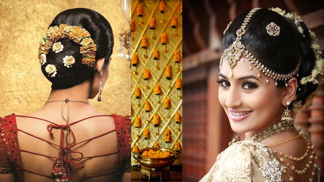 south indian bridal makeup and hairstyle tutorial  simple bridal bun  hairstyle &makeup for reception