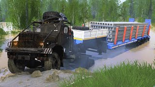 Spintires Mudrunner - Kraz Type C-255 6x6 - Driving Offroad Heavy Transporting Beam Concrete