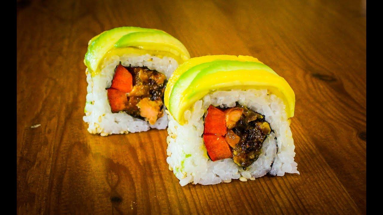 Mango avocado sushi roll recipe how to make sushi rolls youtube forumfinder Gallery