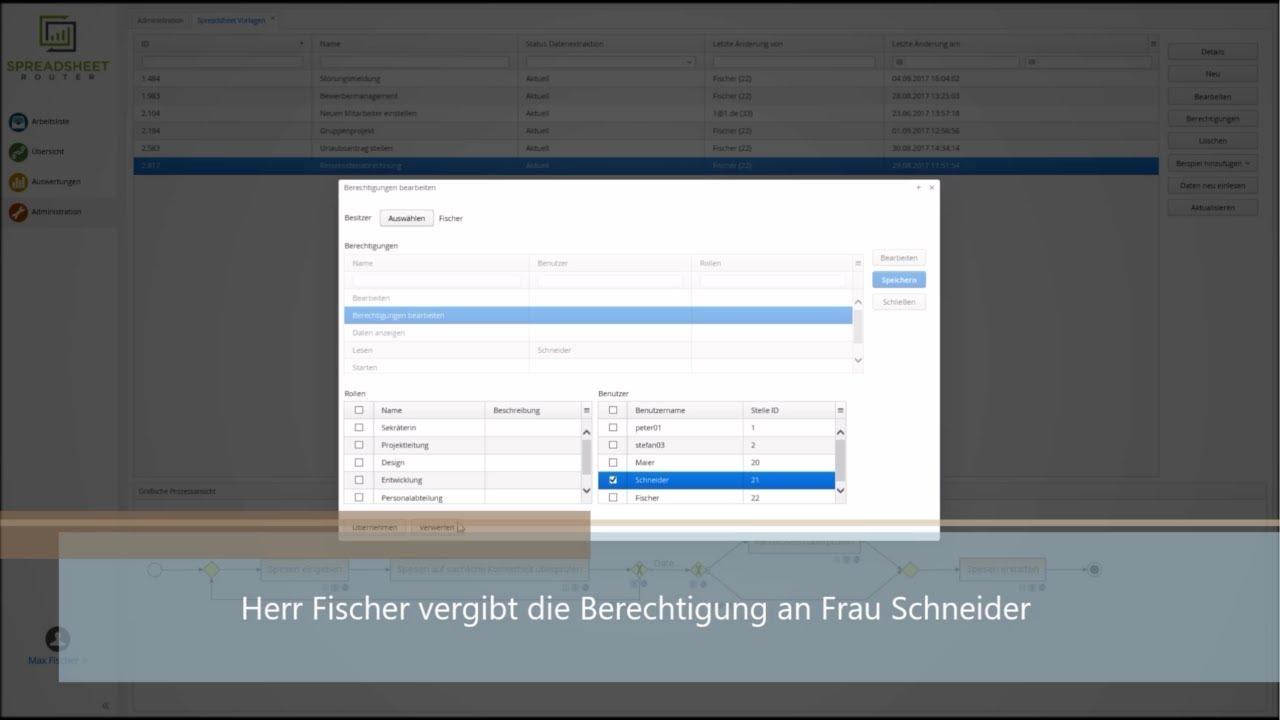 Youtube Video: Spreadsheet Router Tutorial: Berechtigungen bearbeiten von Spreadsheet Vorlagen