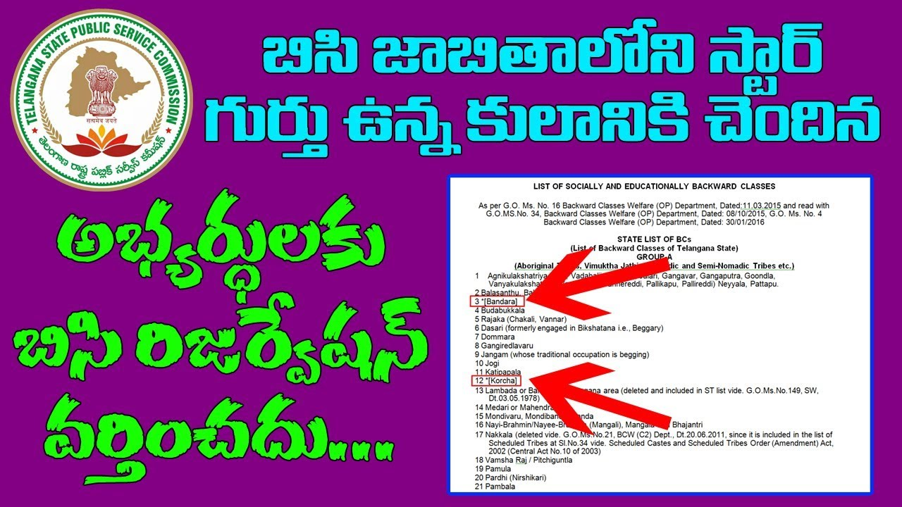 112 Telangana State BC Castes, Communities and percentage of reservation |  TSPSC Notification 2017