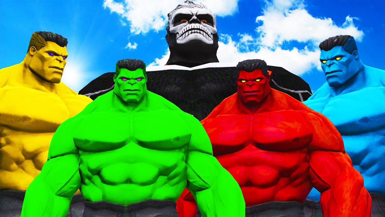 Green Hulk & Red Hulk & Blue Hulk & Yellow Hulk VS Hulk-Rider