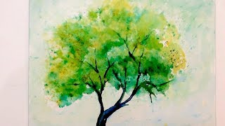 Watercolor Tutorial of an easy Tree, how to paint with fun techniques
