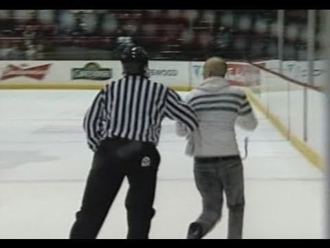 Drunk Fan Jumps On Ice At Hockey Game