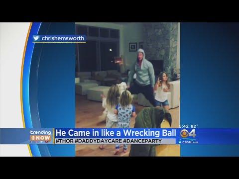 Trending: Chris Hemsworth Dances 'Wrecking Ball' With His Kids