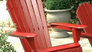 Grand Daddy Oversized Adirondack Chair With Pull Out Ottoman Red - Product Review Video