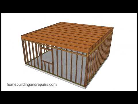 Illustrated Example of Easy Shed and Garage Framing With Shed Roof
