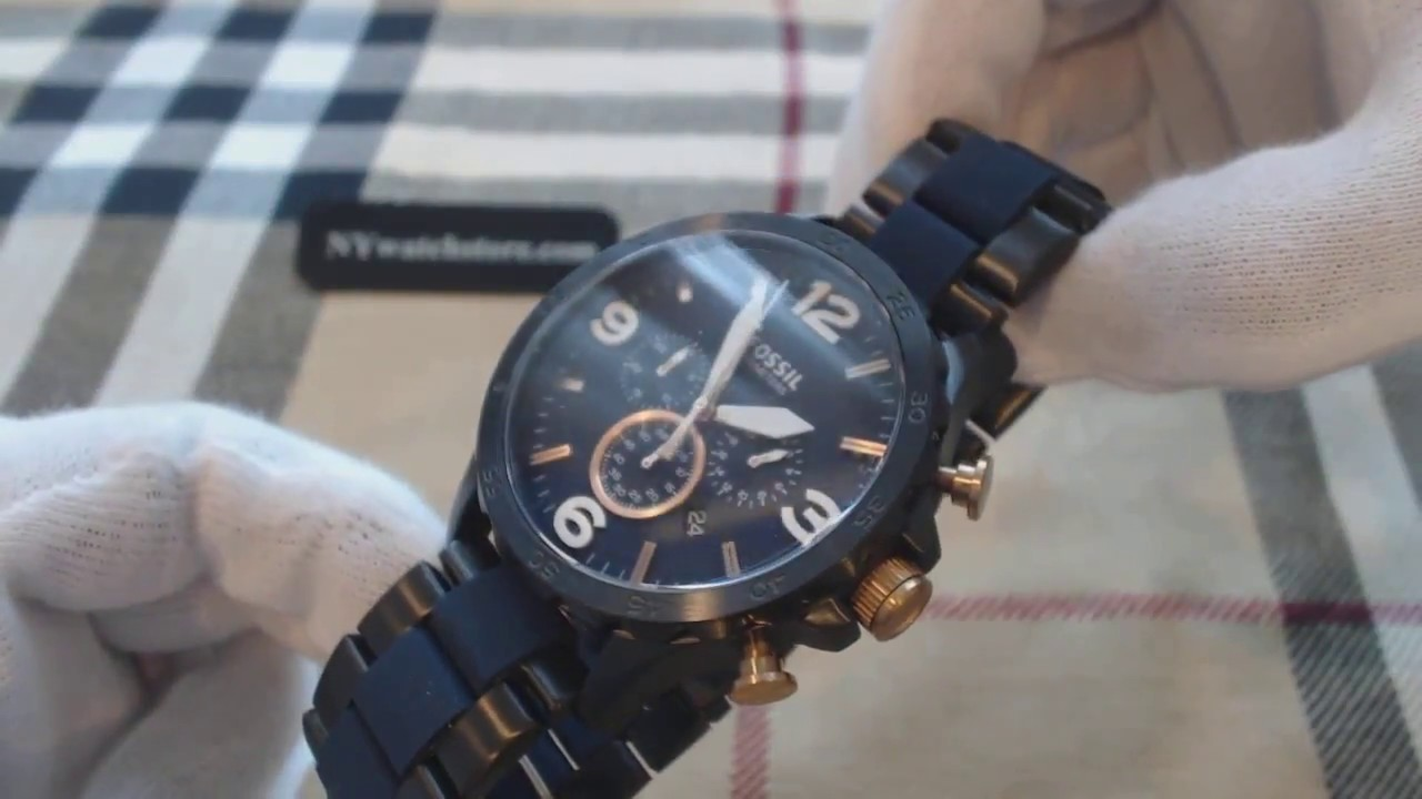 f35c7cb6b75 Men s Fossil Nate Chronograph Stainless Steel Watch JR1494 - YouTube
