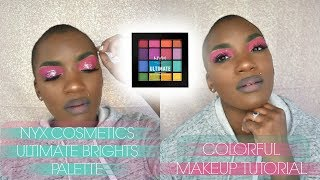NYX COSMETICS ULTIMATE BRIGHTS PALETTE | PINK AND GREEN | BEAUTY BY KANDI