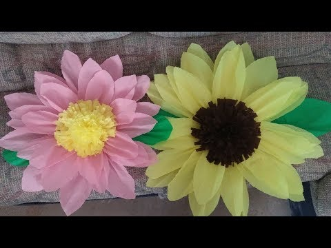 Como Hacer Flores Grandes De Papel Crepe Y Carton