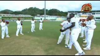 Younis Khan gets the gaurd of the honor by the West Indies players