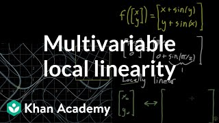 Local linearity for a multivariable function(A visual representation of local linearity for a function with a 2d input and a 2d output, in preparation for learning about the Jacobian matrix., 2017-01-10T18:42:09.000Z)