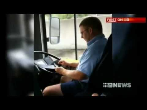 Texting While Driving >> Nine News Sydney - Bus Driver caught texting while at the ...