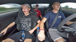 Tanner and Taylor get a ride in the Shelby GT350