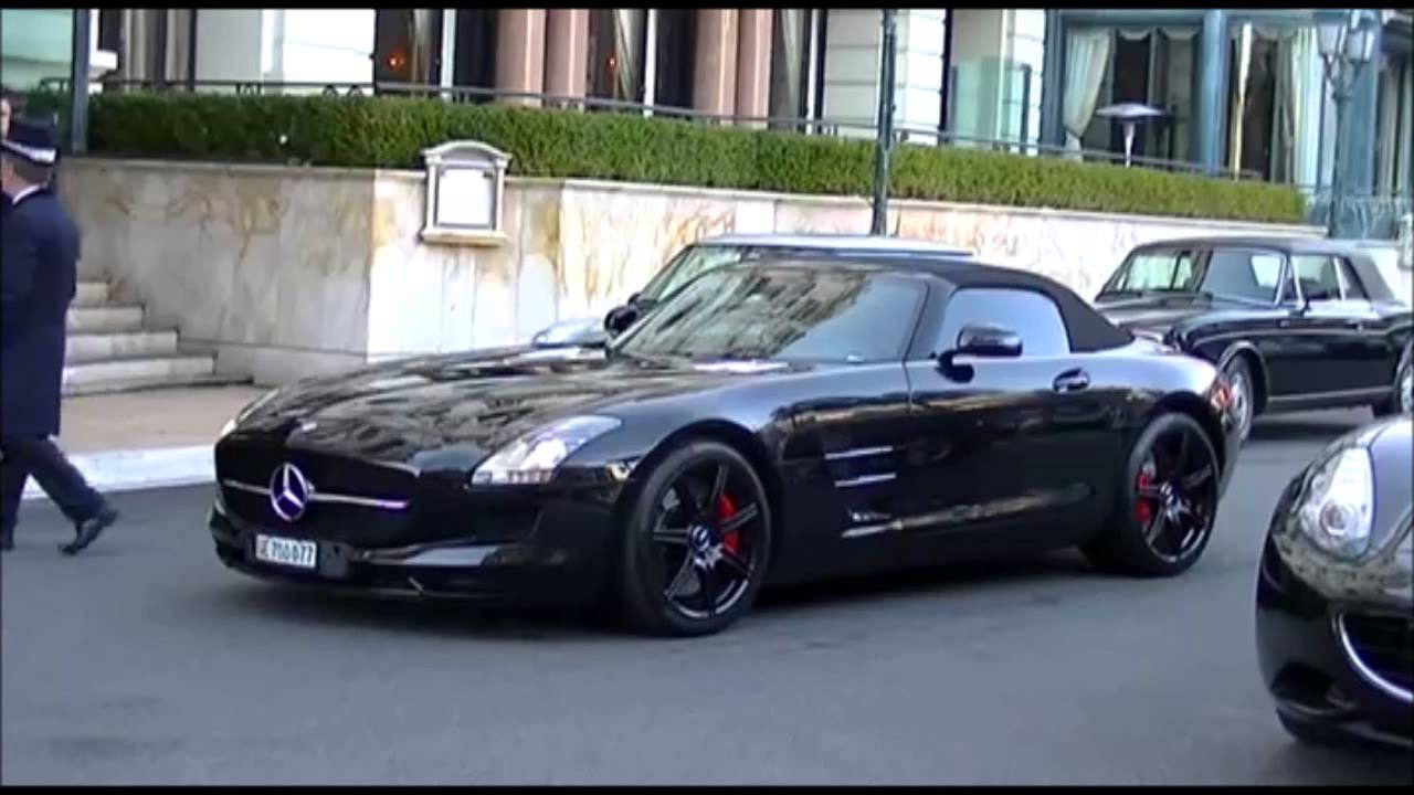 mercedes sls roadster full black in monaco youtube. Black Bedroom Furniture Sets. Home Design Ideas