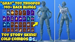 "NEW GRAY ""TOY TROOPER"" SKIN Showcased With 140+ BACK BLINGS! Fortnite BR (BEST TOY TROOPER COMBOS)"