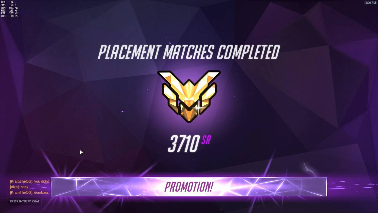 Overwatch PTR Season 2 Placement Rank 3710 Master