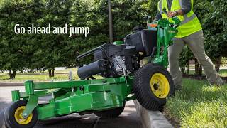 Curb climbing on the John Deere R Series Commercial Walk-Behinds
