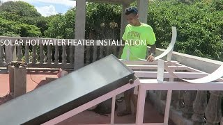 SOLAR HOT WATER HEATER INSTALLATION - HOMEMADE DIY FRAME