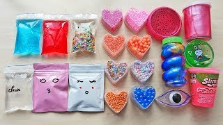 Making Slime with Bags Foam Beads and Store Bought Slime
