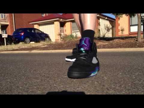 Oreo 5 vs Black Grape 5 Jordan On Feet - YouTubeJordan Grape 5 Black On Feet