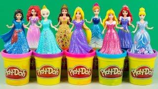 Disney Princess MagiClip Collection Elsa Anna Ariel Belle Rapunzel Aurora Merida Play Doh Fashions