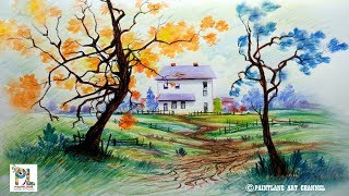 How to Draw Scenery with Color Pencils for Beginners | Step by Step