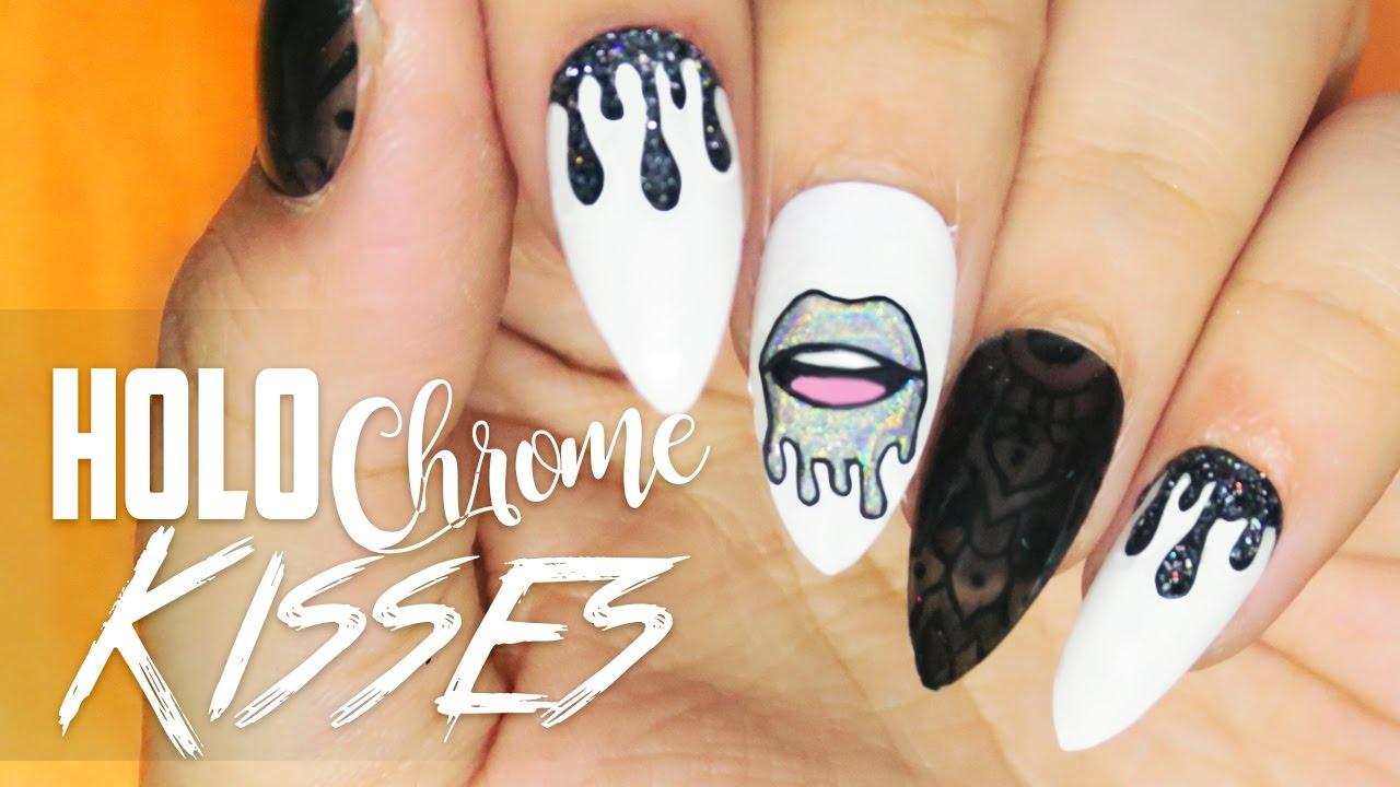 Holo chrome kisses nail art youtube prinsesfo Images